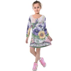 Lowers Pansy Kids  Long Sleeve Velvet Dress
