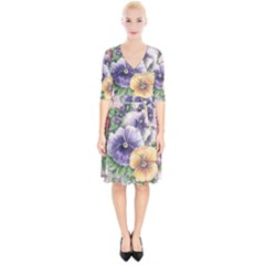 Lowers Pansy Wrap Up Cocktail Dress