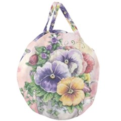 Lowers Pansy Giant Round Zipper Tote by vintage2030