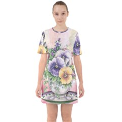 Lowers Pansy Sixties Short Sleeve Mini Dress