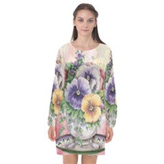 Lowers Pansy Long Sleeve Chiffon Shift Dress