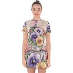 Lowers Pansy Drop Hem Mini Chiffon Dress