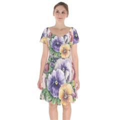 Lowers Pansy Short Sleeve Bardot Dress
