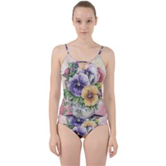 Lowers Pansy Cut Out Top Tankini Set