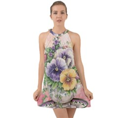 Lowers Pansy Halter Tie Back Chiffon Dress
