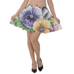 Lowers Pansy Velvet Skater Skirt