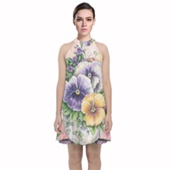 Lowers Pansy Velvet Halter Neckline Dress