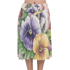 Lowers Pansy Velvet Flared Midi Skirt