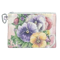 Lowers Pansy Canvas Cosmetic Bag (xl)