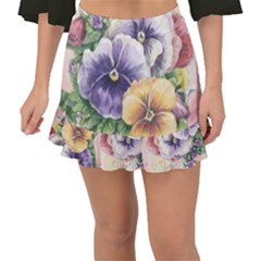 Lowers Pansy Fishtail Mini Chiffon Skirt
