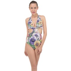 Lowers Pansy Halter Front Plunge Swimsuit