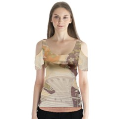 Vintage 1370065 1920 Butterfly Sleeve Cutout Tee  by vintage2030