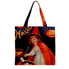 Haloweencard2 Zipper Grocery Tote Bag by vintage2030