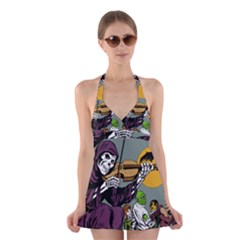 Playing Skeleton Halter Dress Swimsuit