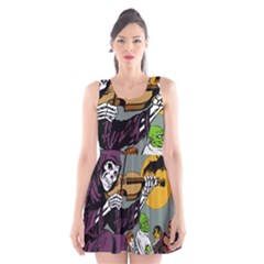 Playing Skeleton Scoop Neck Skater Dress