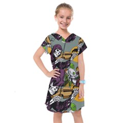 Playing Skeleton Kids  Drop Waist Dress