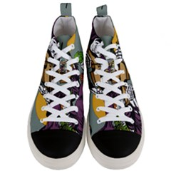 Playing Skeleton Men s Mid Top Canvas Sneakers