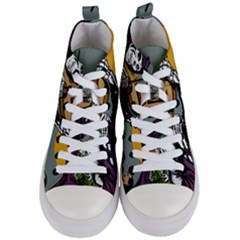 Playing Skeleton Women s Mid Top Canvas Sneakers