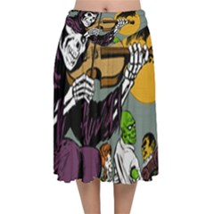 Playing Skeleton Velvet Flared Midi Skirt
