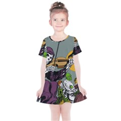 Playing Skeleton Kids  Simple Cotton Dress