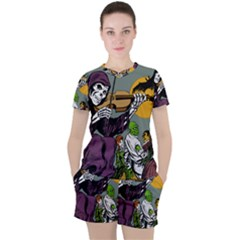 Playing Skeleton Women s Tee And Shorts Set