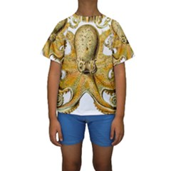 Gold Octopus Kids  Short Sleeve Swimwear by vintage2030