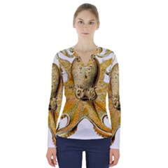 Gold Octopus V Neck Long Sleeve Top