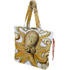 Gold Octopus Drawstring Tote Bag