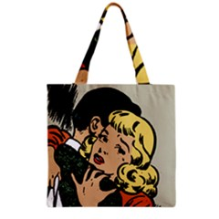 Hugging Retro Couple Grocery Tote Bag