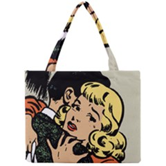 Hugging Retro Couple Mini Tote Bag