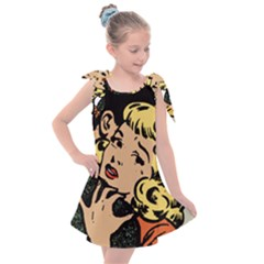 Hugging Retro Couple Kids  Tie Up Tunic Dress