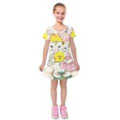 Rabbits 1731749 1920 Kids  Short Sleeve Velvet Dress
