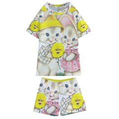 Rabbits 1731749 1920 Kids  Swim Tee And Shorts Set