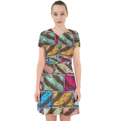 Colorful Painted Bricks Street Art Kits Art Adorable In Chiffon Dress