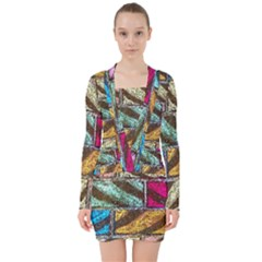 Colorful Painted Bricks Street Art Kits Art V Neck Bodycon Long Sleeve Dress