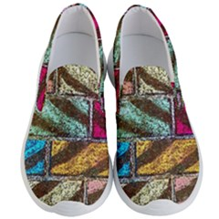 Colorful Painted Bricks Street Art Kits Art Men s Lightweight Slip Ons