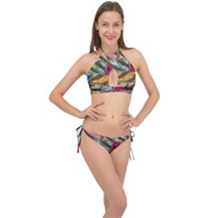 Colorful Painted Bricks Street Art Kits Art Cross Front Halter Bikini Set