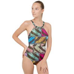 Colorful Painted Bricks Street Art Kits Art High Neck One Piece Swimsuit