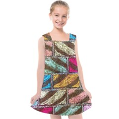 Colorful Painted Bricks Street Art Kits Art Kids  Cross Back Dress
