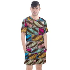 Colorful Painted Bricks Street Art Kits Art Men s Mesh Tee And Shorts Set