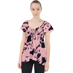 Old Rose Black Abstract Military Camouflage Lace Front Dolly Top by Costasonlineshop