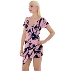 Old Rose Black Abstract Military Camouflage Short Sleeve Asymmetric Mini Dress