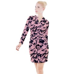 Old Rose Black Abstract Military Camouflage Button Long Sleeve Dress