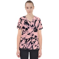 Old Rose Black Abstract Military Camouflage Scrub Top