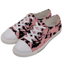 Old Rose Black Abstract Military Camouflage Women s Low Top Canvas Sneakers by Costasonlineshop