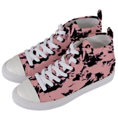 Old Rose Black Abstract Military Camouflage Women s Mid Top Canvas Sneakers by Costasonlineshop
