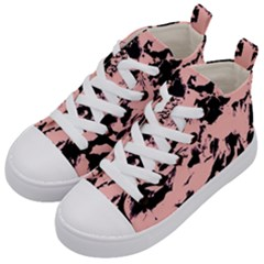 Old Rose Black Abstract Military Camouflage Kid s Mid Top Canvas Sneakers by Costasonlineshop