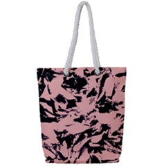 Old Rose Black Abstract Military Camouflage Full Print Rope Handle Tote (small)