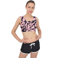 Old Rose Black Abstract Military Camouflage V Back Sports Bra