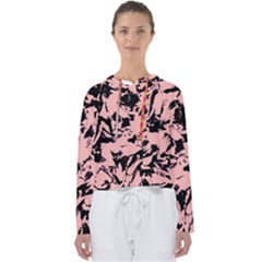 Old Rose Black Abstract Military Camouflage Women s Slouchy Sweat